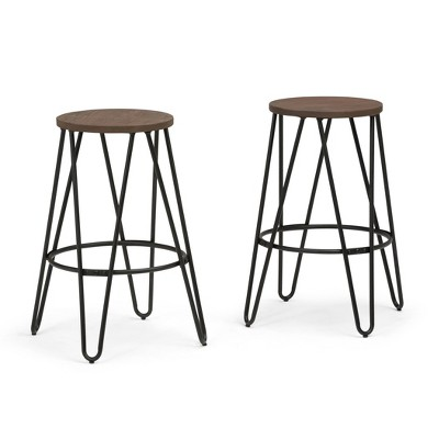 """26"""" Set of 2 Kendall Metal Counter Height Barstools with Wood Seat Cocoa Brown/Black - WyndenHall"""