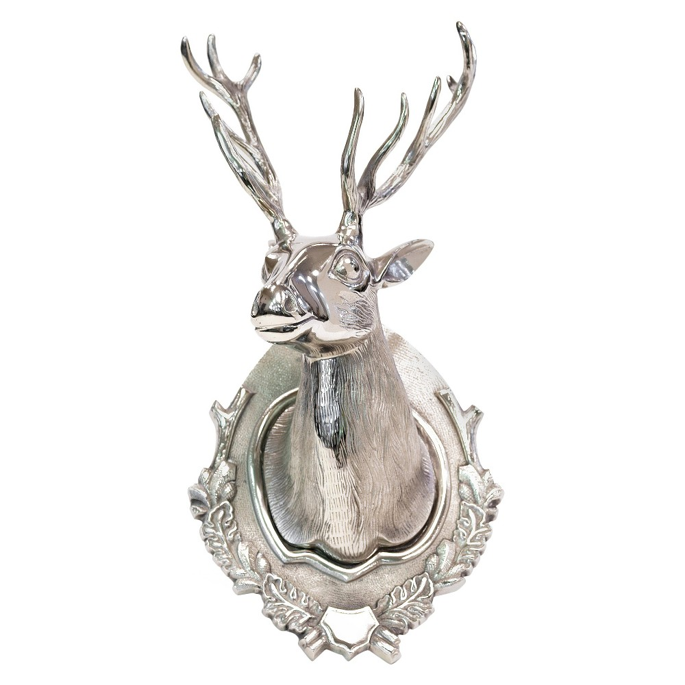 "Image of ""Go Home Lodge Deer Head Wall Sculpture - 25Hx12""""Wx10""""D - Silver, Grey"""