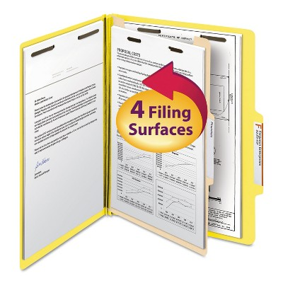 Smead Top Tab Classification Folder One Divider Four-Section Letter Yellow 10/Box 13704