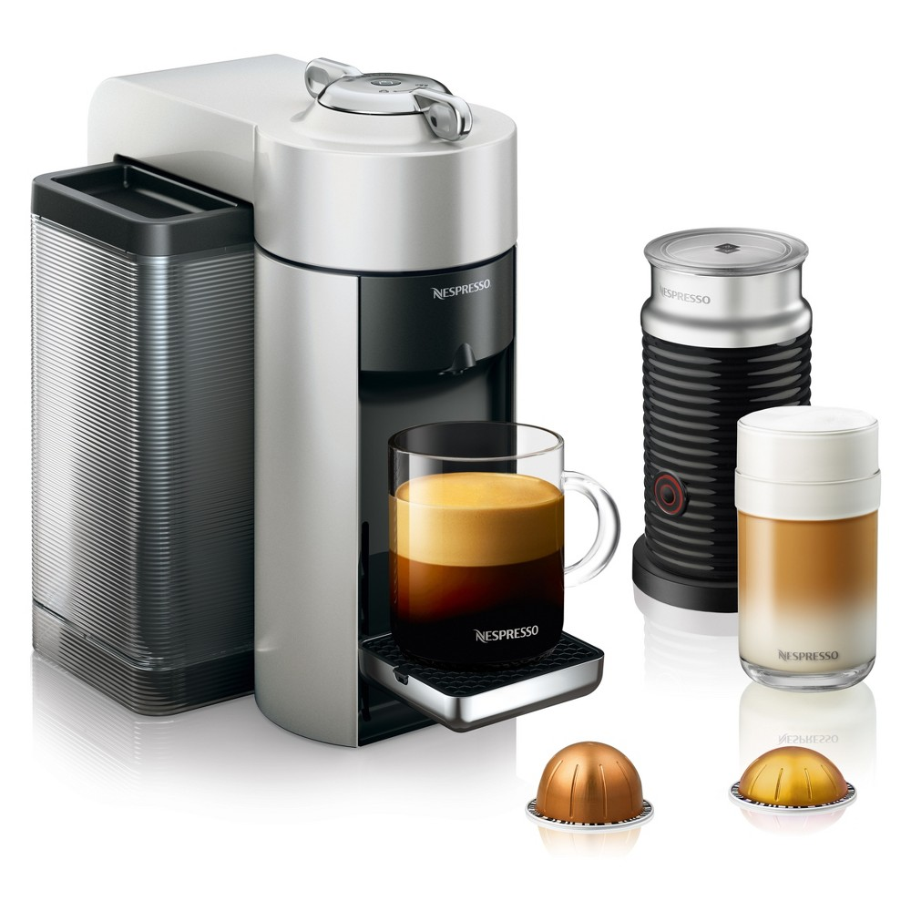 Nespresso Vertuo Coffee and Espresso Machine with Aeroccino Silver by De'Longhi 53804292