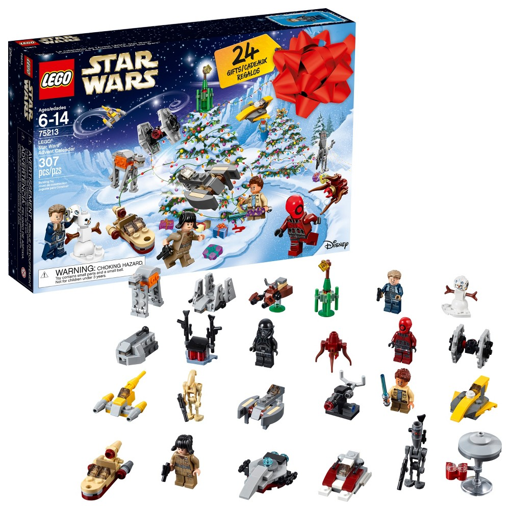 Lego Star Wars Advent Calendar 75213 Perfect for a Star Wars fan, this Lego Star Wars Advent Calendar is sure to make your day! It has 24 Lego Star Wars gifts, this is an ideal Christmas or birthday present for your kiddos. This Advent Calendar includes collectibles, minifigures and starships. Featuring the Arrowhead, Naboo Starfighter, landspeeder, General Grievous, Republic Fighter Tank, Blaster Cannon, Twin-Pod Cloud Car, Delta-7 Jedi Starfighter, Imperial Speeder Bike and more. It also includes minifigures like Death Trooper, Rathtar, General Merrick, Guavian Security Soldier, Rose, Battle Droid and Rowan. These Lego minifigures will definitely get your little one excited! Gender: Unisex.