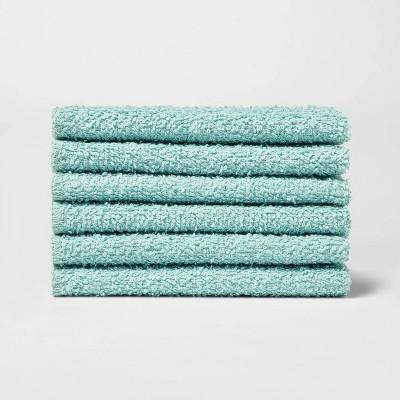 6pk Washcloth Aqua - Room Essentials™