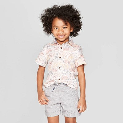 Toddler Boys' Dinosaur Print Short Sleeve Button-Down Shirt - Cat & Jack™ White 12M