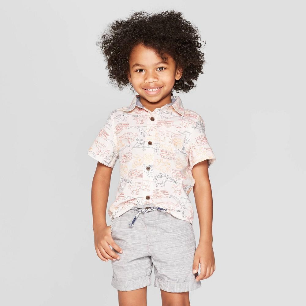 Toddler Boys' Dinosaur Print Short Sleeve Button-Down Shirt - Cat & Jack White 2T, Orange