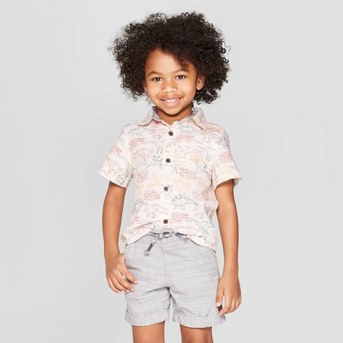 6bb1fd31 Toddler Boys' Dinosaur Print Short Sleeve Button-Down Shirt - Cat & Jack™  White : Target