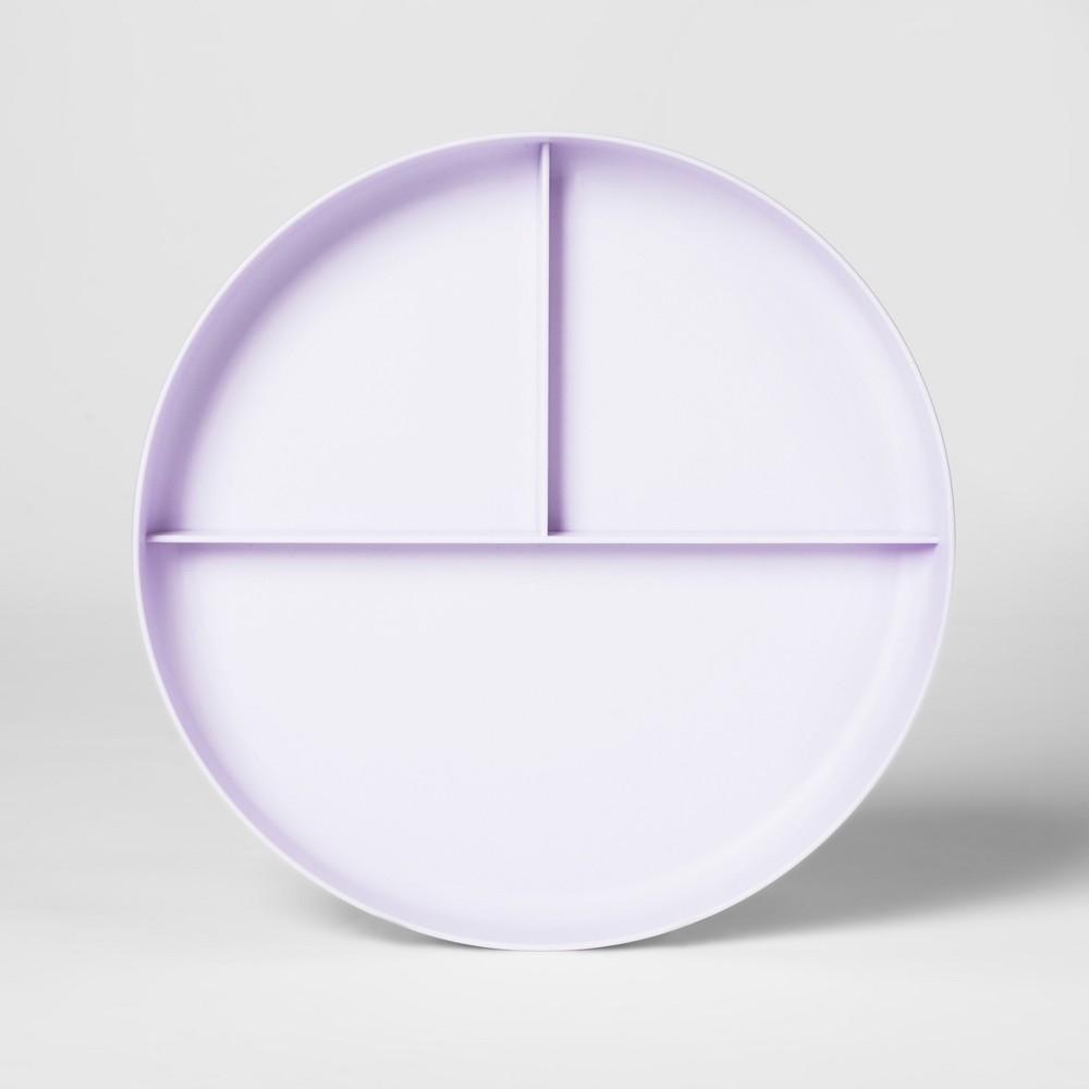7.3 Plastic Divided Kids Plate Purple - Pillowfort