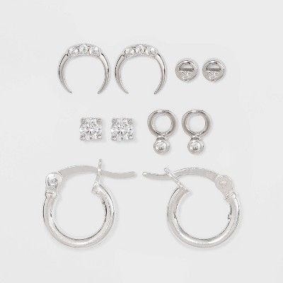 Sterling Silver with Assorted Cubic Zirconia Hoop Earring Set 5pc - A New Day™ Silver