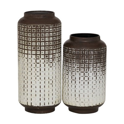 Set of 2 Round Distressed Textured Patterned Vase White/Brown - Olivia & May