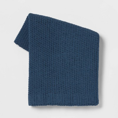 Solid Chenille Knit Throw Blanket Blue - Threshold™