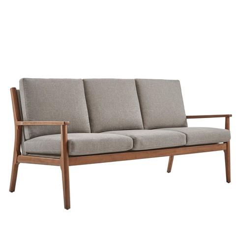 Inspire Q Mavena Mid Century Walnut Wood Straight Arm Sofa Linen Smoke Gray