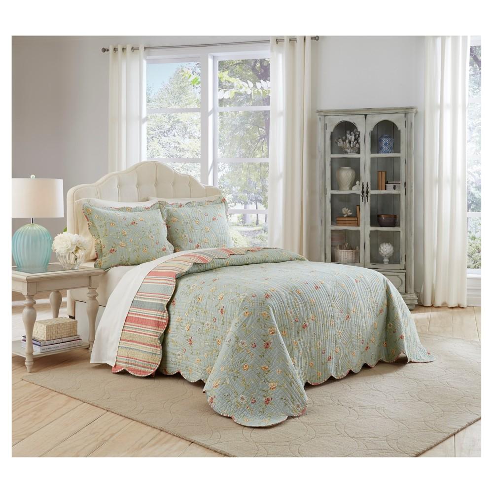 Floral Stripe Garden Glitz Bedspread Set (Queen) 3pc - Waverly, Multicolored