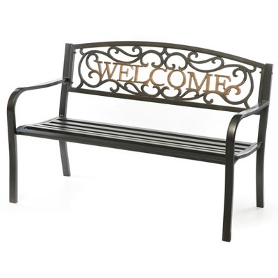 "Gardenised Steel Outdoor Patio Garden Park Bench with Cast Iron ""Welcome"" Backrest"