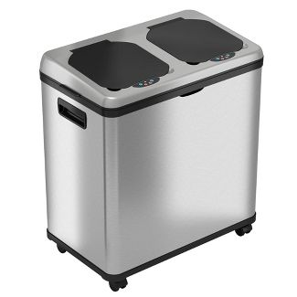 halo quality 16gal Stainless Steel Automatic Sensor Trash Can and Recycle Bin