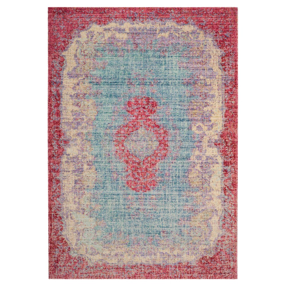 Light Blue/Fuchsia Medallion Loomed Area Rug 8'X10' - Safavieh, Blue Pink