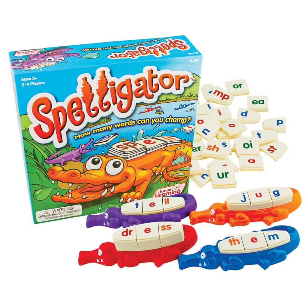 Junior Learning Spelligator Word Building Game An exciting new word building game that teaches phonemic awareness, letter patterns and positioning. Covers letter sound patterns, consonants, vowels, digraphs, and blends. The player who makes the most word wins! Ages 5 – adults.