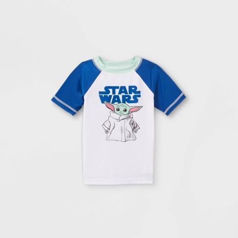Toddler Boys' Baby Yoda Rash Guard Swim Shirt - White - image 1 of 2