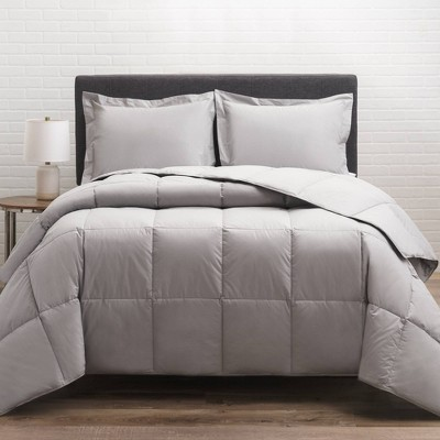 Full/Queen 300 Thread Count Cotton Twill Down Comforter Gray - Allied Home