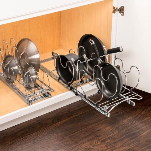 Lynk Professional Slide Out Pan Lid Holder Pull Kitchen Cabinet Organizer Rack