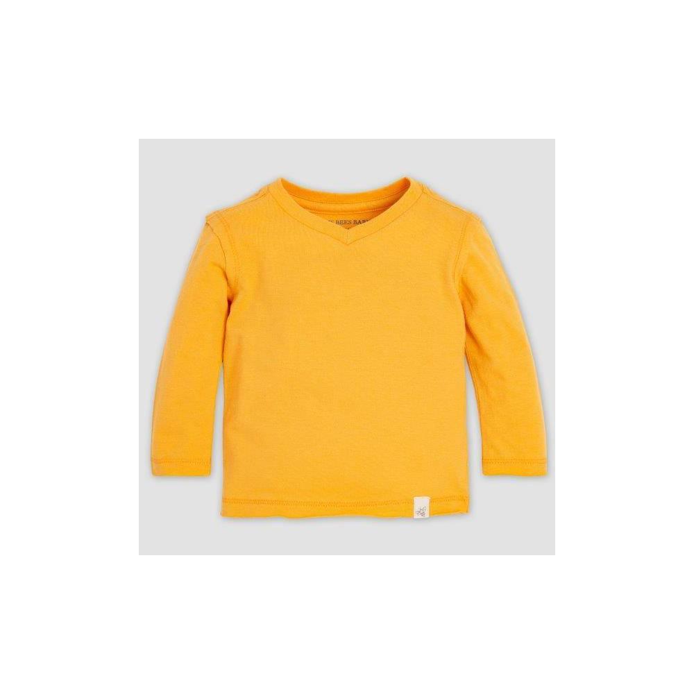 Image of Burt's Bees Baby Baby Boys' Basic High V-Neck Organic Cotton T-Shirt - Yellow 0-3M, Boy's