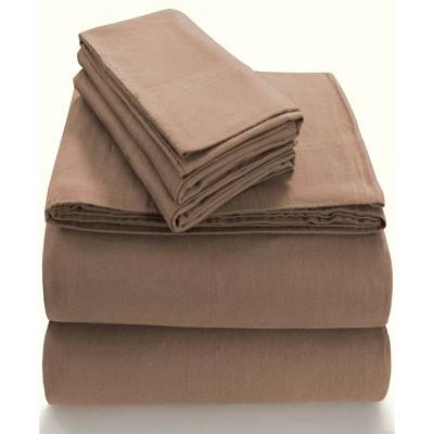 Queen Extra Deep Pocket Solid Sheet Set Brown - Tribeca Living