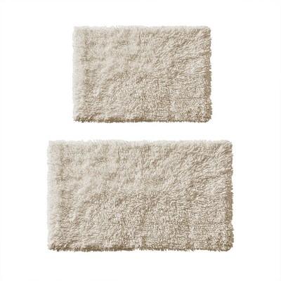 2pc Clout Organic Cotton Bath Rug Set Natural