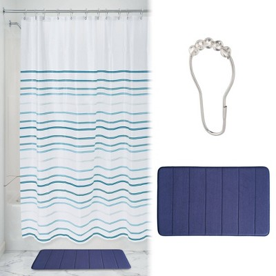 Lindy Striped Shower Curtain with Memory Foam Mat and Ring Bundle Blue/White - iDESIGN