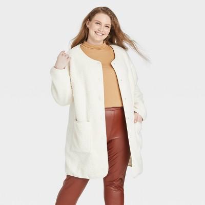 Women's Plus Size Sherpa Overcoat Jacket - Ava & Viv™