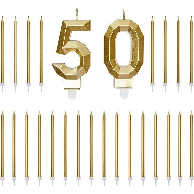 Blue Panda Gold Foil Numbers 50 Cake Topper & 24-Pack Thin Birthday Candles, 50th Birthday Party Decorations