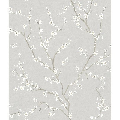 RoomMates Cherry Blossom Peel and Stick Wallpaper Gray