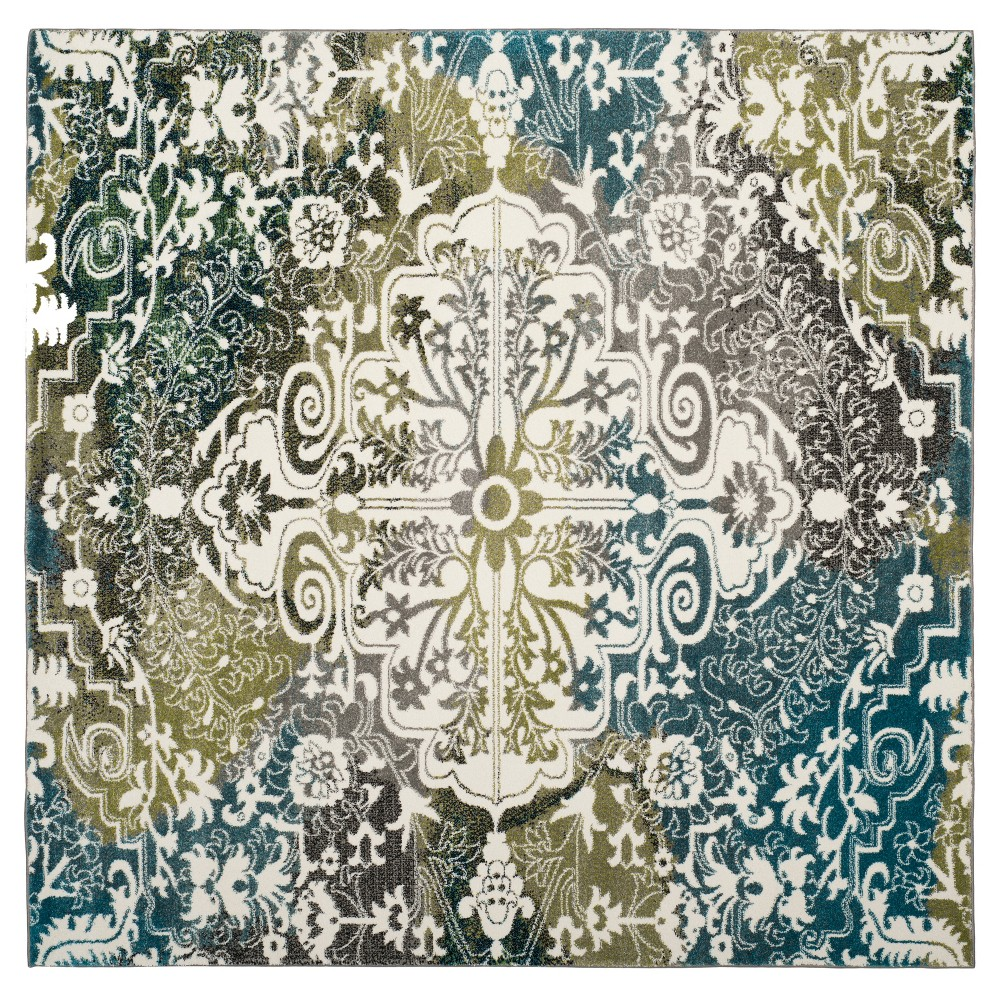Ivory/Peacock Blue Medallion Loomed Square Area Rug 6'7