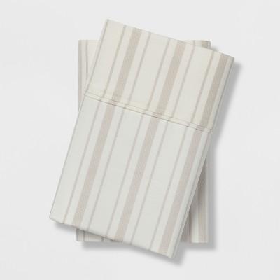 Standard 400 Thread Count Striped Performance Pillowcase Set White/Gray - Threshold™