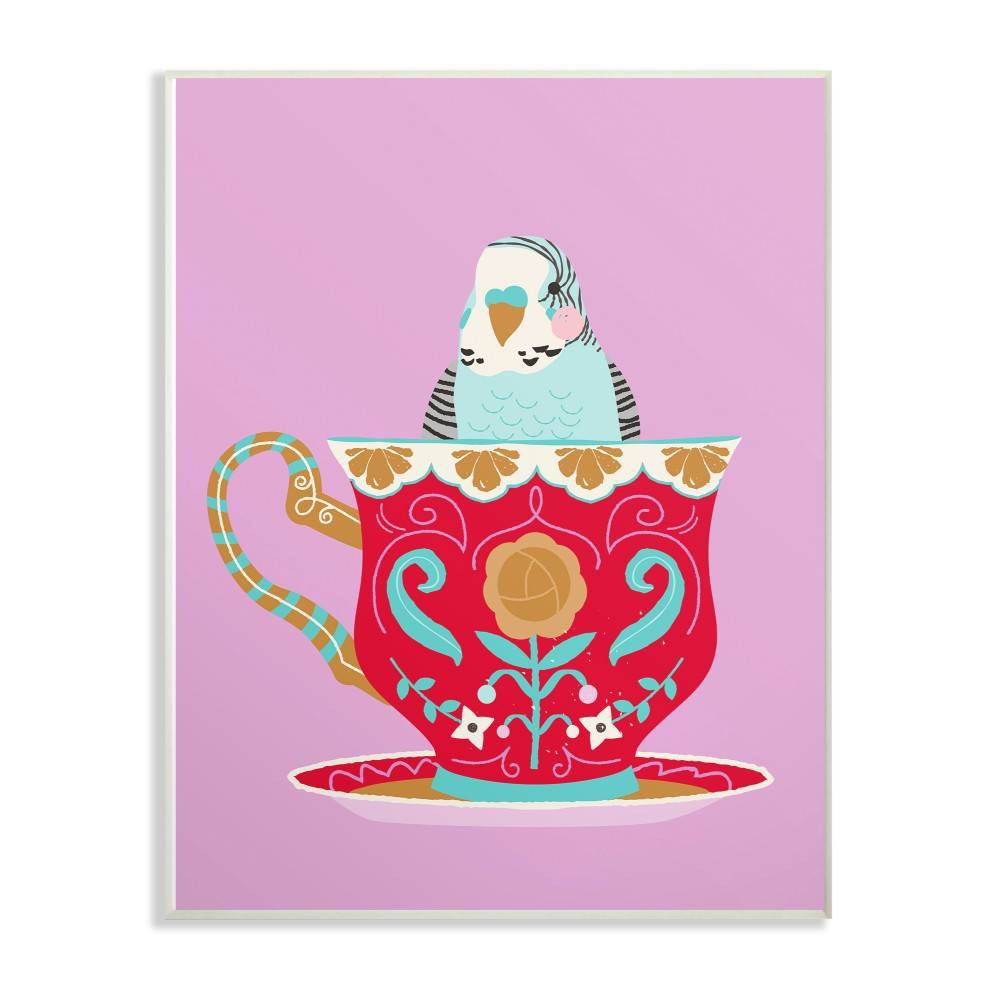"Image of ""10""""x0.5""""x15"""" Bird In Teacup Wall Plaque Art - Stupell Industries"""