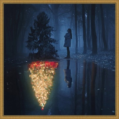 """16"""" x 16"""" The Hope of Christmas Tree by Terry F Framed Canvas Wall Art - Amanti Art"""