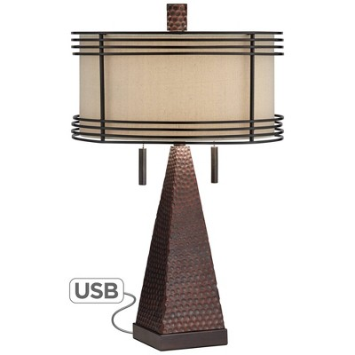 Franklin Iron Works Industrial Table Lamp with USB Charging Port Rustic Hammered Bronze Double Shade for Living Room Bedroom Bedside Family