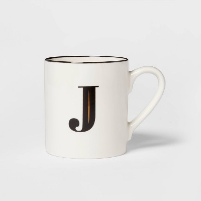 16oz Stoneware Monogram J Mug White - Threshold™