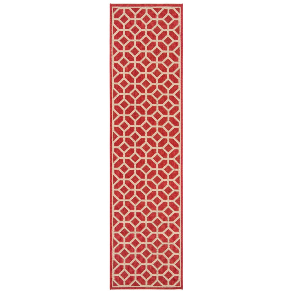 2'X8' Geometric Loomed Runner Red/Cream (Red/Ivory) - Safavieh