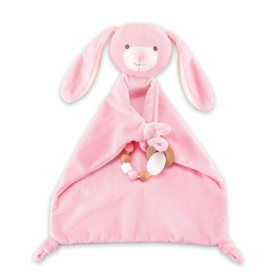 The Peanut Shell Security Plush with Teether Bunny - Pink