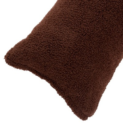 Body Pillow Cover, Soft Sherpa Pillowcase With Zipper, Fits Pillows Up To 51 Inches By Hastings Home (Chocolate)