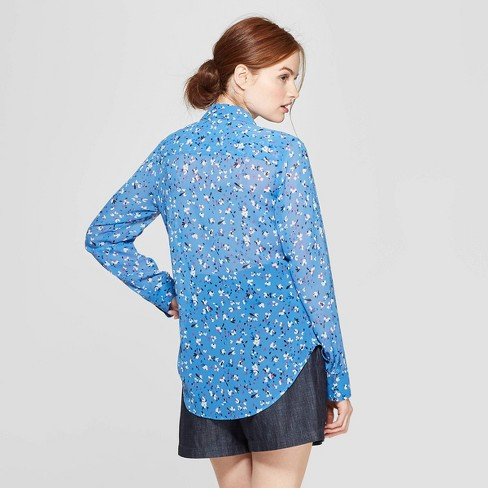 45b4c847a9b2c Women s Floral Print Long Sleeve Crepe Blouse - A New Day™ Blue   Target