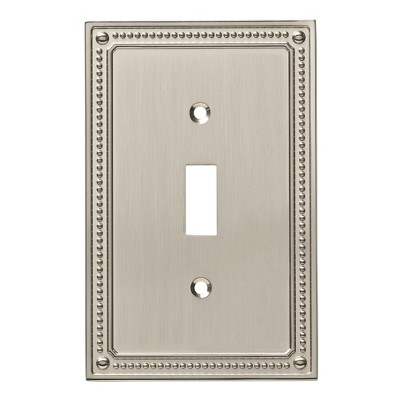 Franklin Brass Classic Beaded Single Switch Wall Plate Nickel