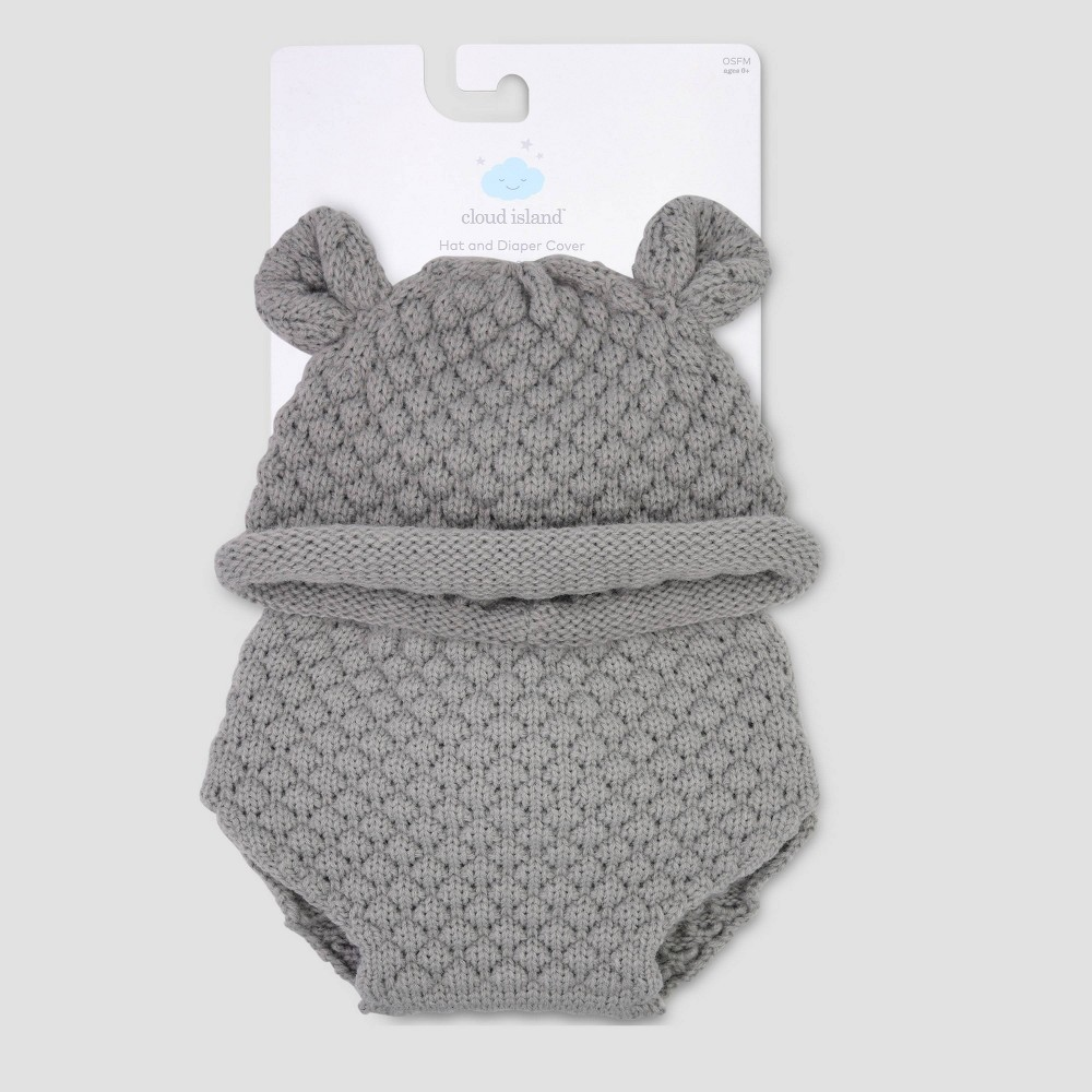 Image of Baby Bear Hat & Diaper Cover Set - Cloud Island Gray 0-6M, Kids Unisex