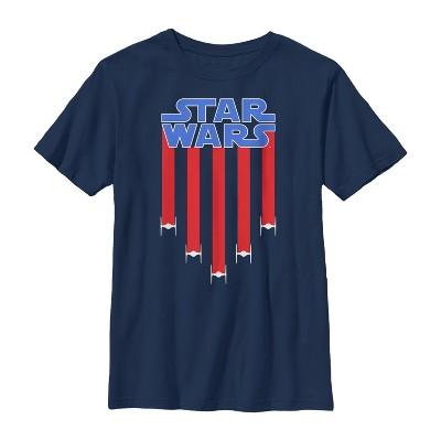 Boy's Star Wars Fourth of July  TIE Fighter Stripes T-Shirt