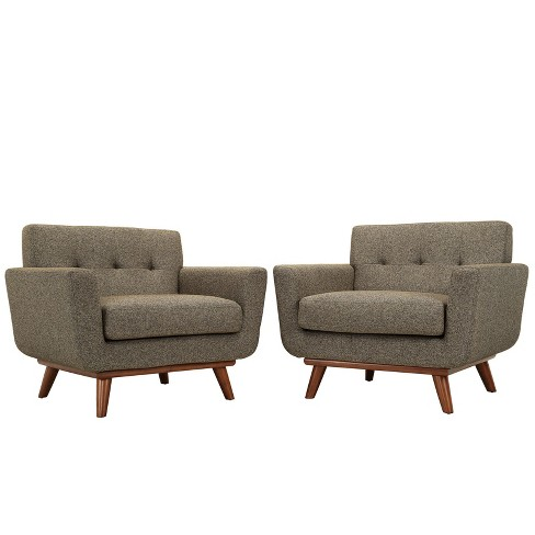 Engage Armchair Wood Set of 2 Oatmeal - Modway - image 1 of 5