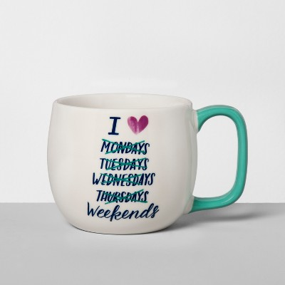 Porcelain I Heart Weekends Mug 16oz White/Green - Threshold™