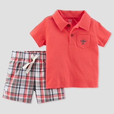 Baby Boys' 2pc Plaid Airplane Shorts Set - Just One You® made by carter's Coral 12M