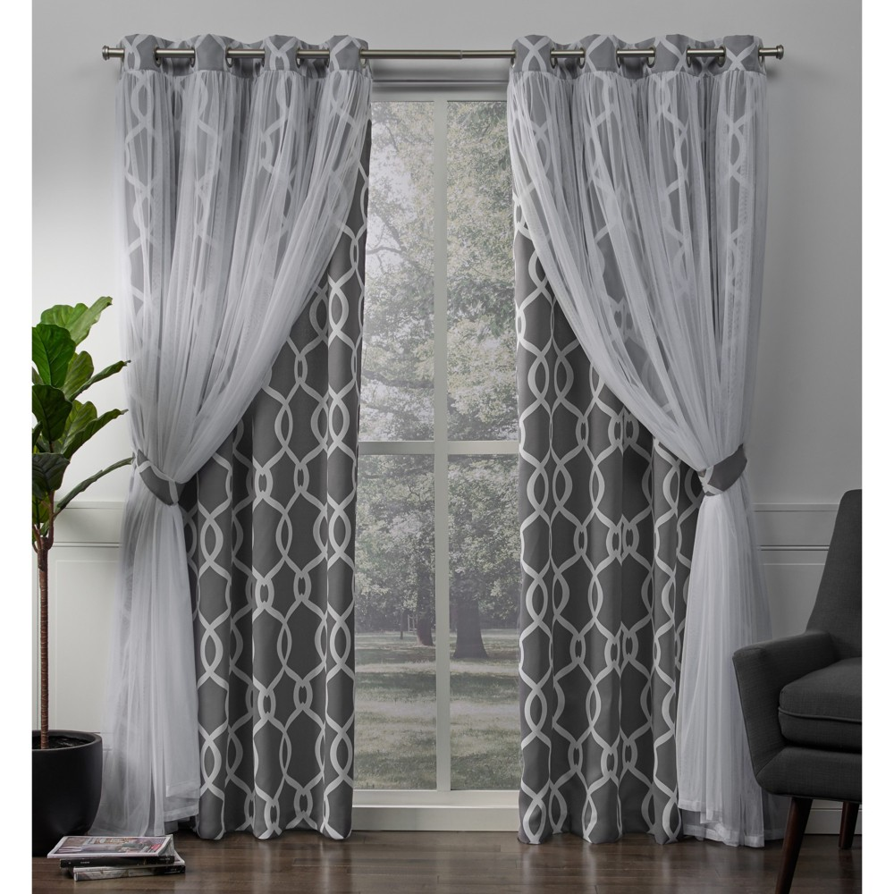 Carmela Layered Geometric Woven Blackout with Sheer Top Curtain panels Charcoal 52x84 - Exclusive Home, Gray