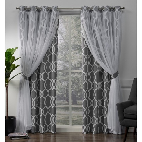 Carmela Layered Geometric Woven Blackout with Sheer Top Curtain - image 1 of 7