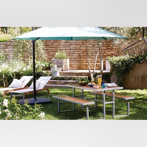 11' Aluminum Push Button Tilt Patio Offset Umbrella with Base - Azure -  Threshold™