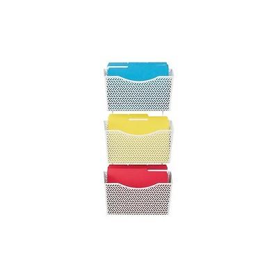 Staples Zigzag 3-Pocket Metal Wall File White (50244) 2215556