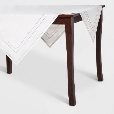 "52""x52"" Hemstitch Table Throw White/Blue - Threshold™"